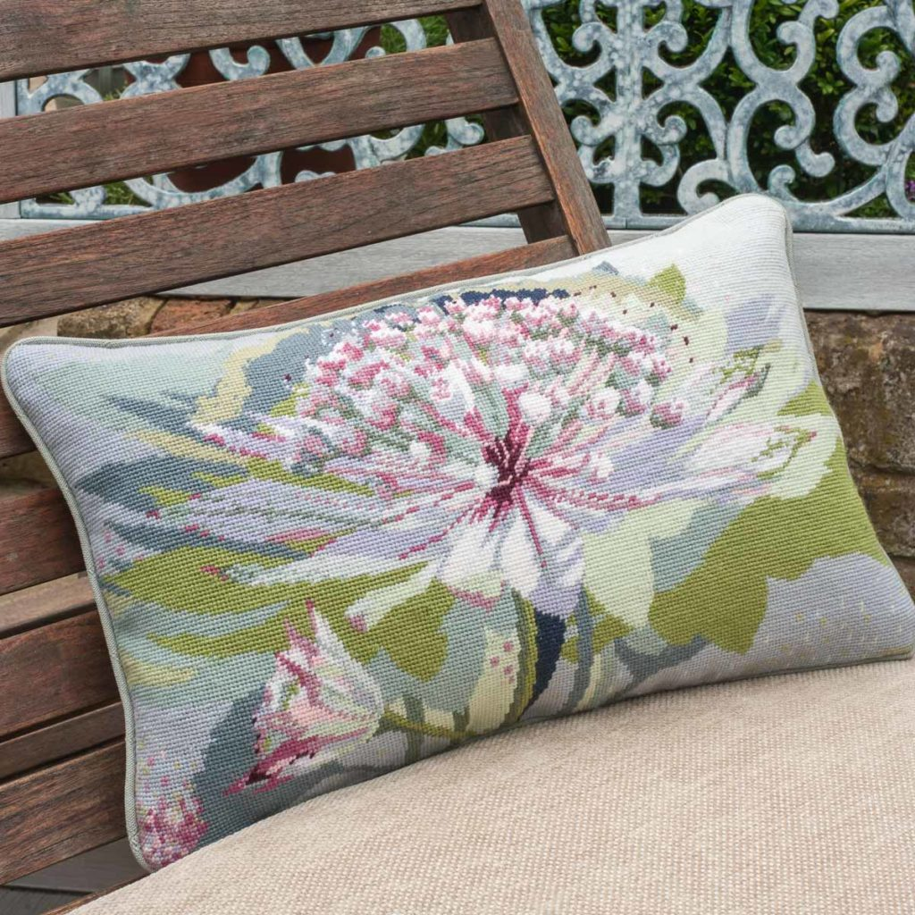 'Florals' category page; Ehrman Tapestry cushion from the 'Florals' collection with an Astrantia Major motif on it.