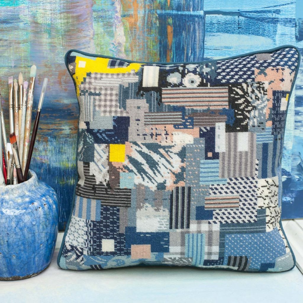 'Contemporary' category page; Ehrman Tapestry cushion from the 'Contemporary' collection with a Boro motif on it.