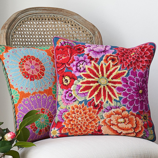 'Textiles' category page; Ehrman Tapestry cushion from the 'Textiles' collection with a classic Kaffe Fassett floral pattern.