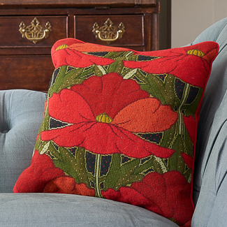 'Arts & Crafts' category page; Ehrman Tapestry cushion from the 'Arts & Crafts' collection with one of the flowers from Raymond Honeyman's Art Nouveau series.