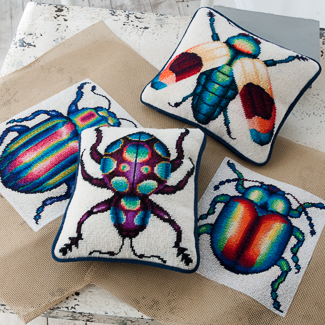 Insect motif needlepoint